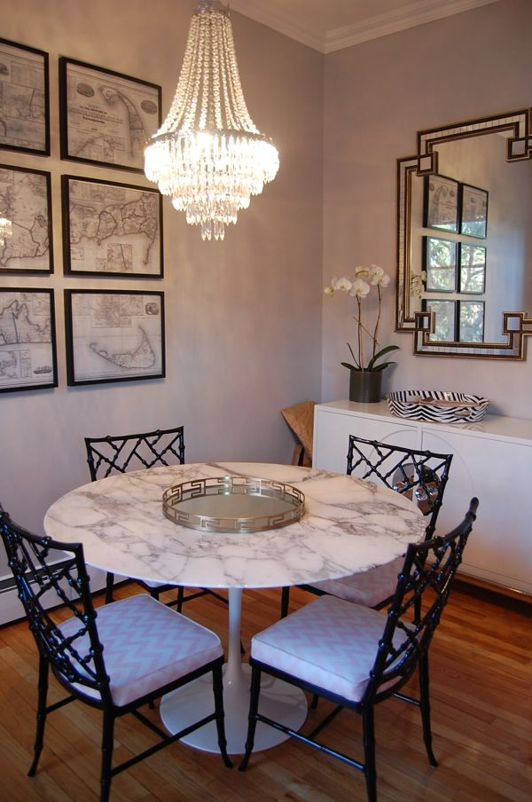 Marble Tulip Table, Chippendale Style Chairs, Blush Walls.