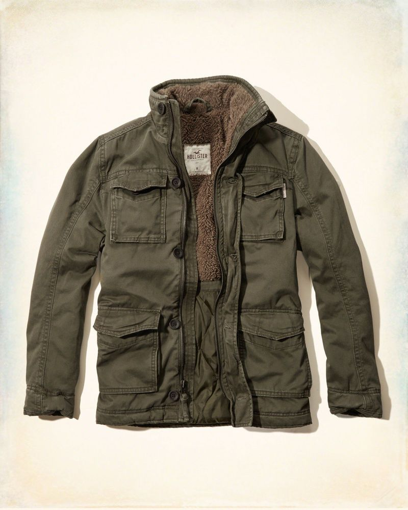c862190897e Hollister by Abercrombie  Fitch Mens Twill Flannel Lined Jacket Coat Olive  S  Hollister  Military