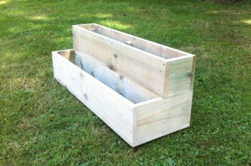 Handmade Large Wooden Garden 2 Tier Step Planters Many Sizes Available Tiered Garden Boxes Wooden Garden Wooden Planters