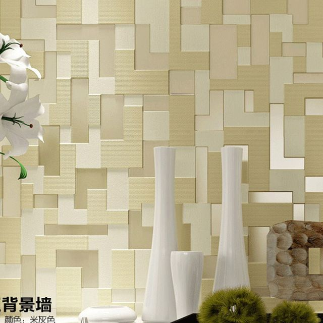 Modern High End Flocking 3D Wallpapers Mural WallCoverings Mosaic Tiles Wall Paper Non Woven Textured Designers Wallpaper Rolls