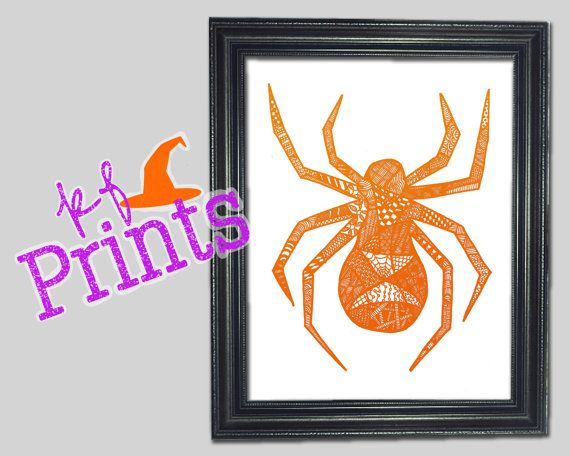 This orange spider zentangle is a Halloween print perfect for your - print halloween decorations