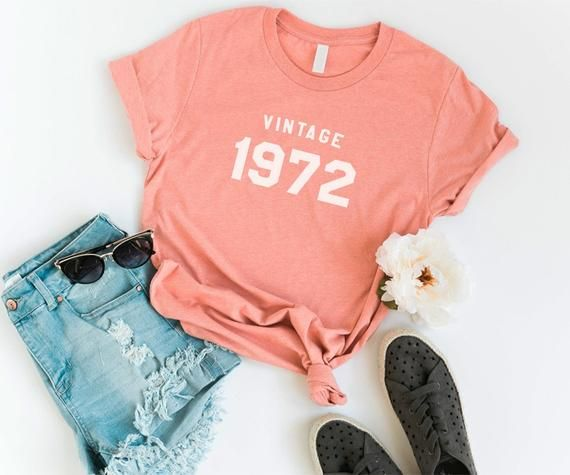 47th birthday gifts for women 1972 birthday shirts for women graphic tees vintage custom t-shirt casual outfits 1