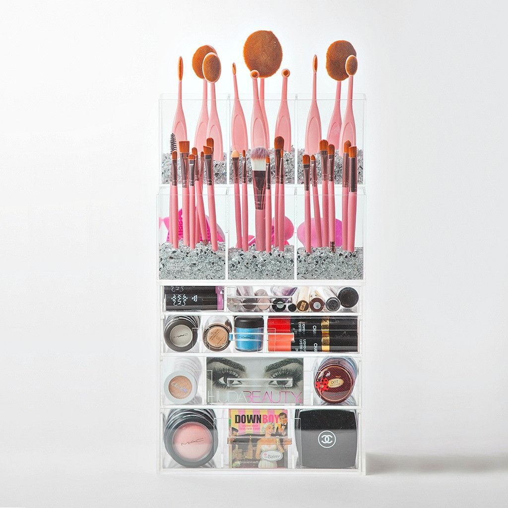 Acrylic Makeup Organizer Large 4 Drawer with Makeup Brush