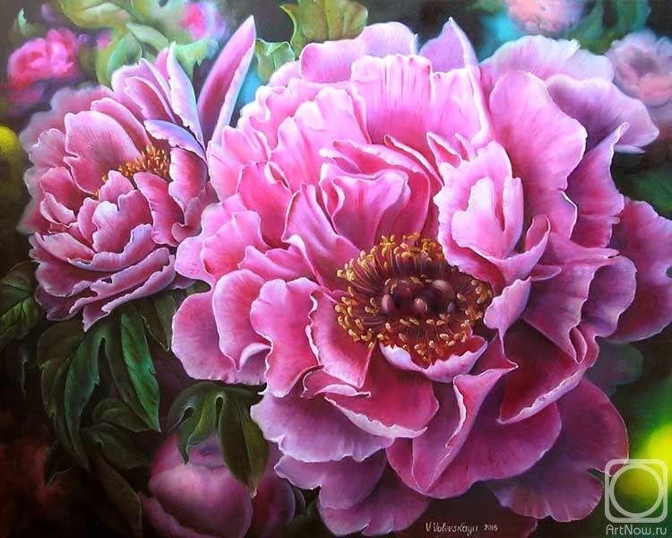 Картина маслом на холсте «Роскошные пионы» | Цветочные ...