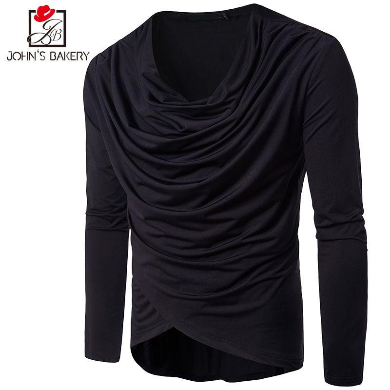 7268a895805 John S Bakery Brand Male T Shirt Irregular Collar Trends T-Shirt Men Funny  Summer Tee