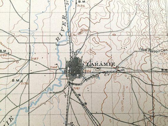 Antique Laramie, Wyoming 1905 US Geological Survey ... on laramie wyoming elevation map, laramie mountains wyoming, casper wyoming map, laramie county wyoming road map, city of laramie wyoming map, fort laramie wyoming map,