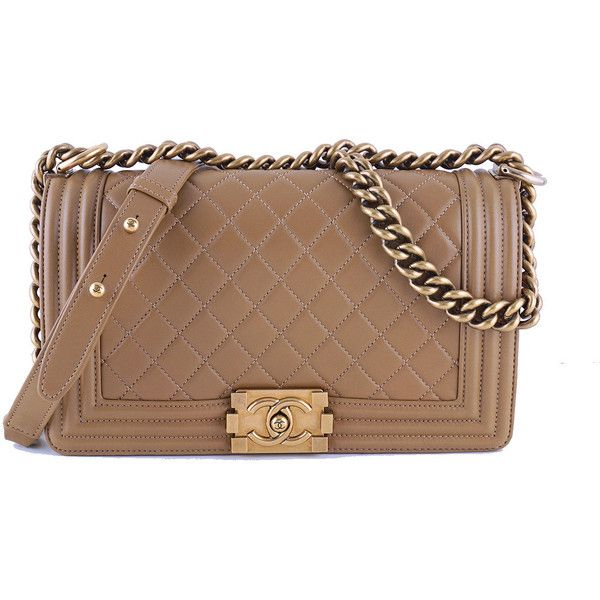 9b0efeec6fceab Chanel Caramel Beige Le Boy Classic Flap, Medium Lambskin Bag ❤ liked on  Polyvore featuring bags, handbags, brown handbags, lambskin leather purse,  ...