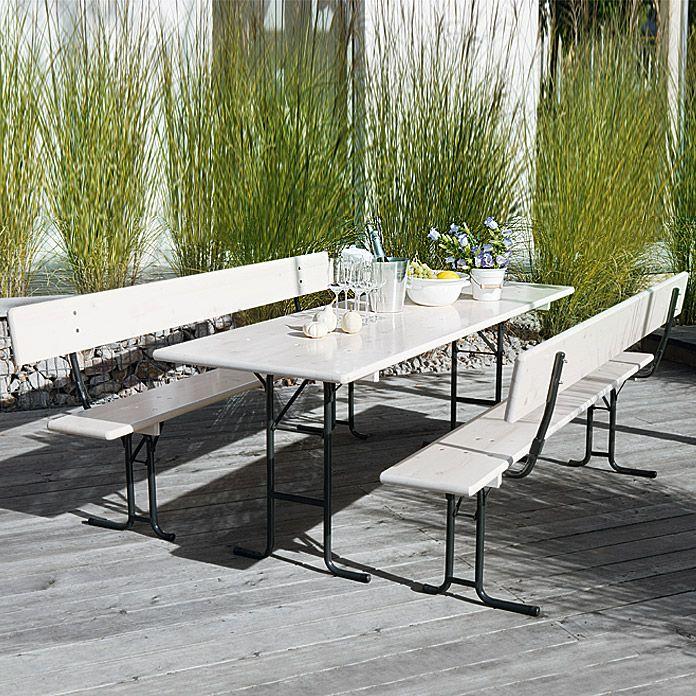 Sunfun Bierzeltgarnitur Masse Tisch 70 X 220 Cm Klappbar Holz Materialmix 3 Tlg Weiss Biertisch Zelten Haus