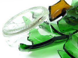 Use colored glass bottles to create recycled beads