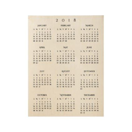 Cool 2018 New Years Calendar Home Room Office Wall Wood Poster