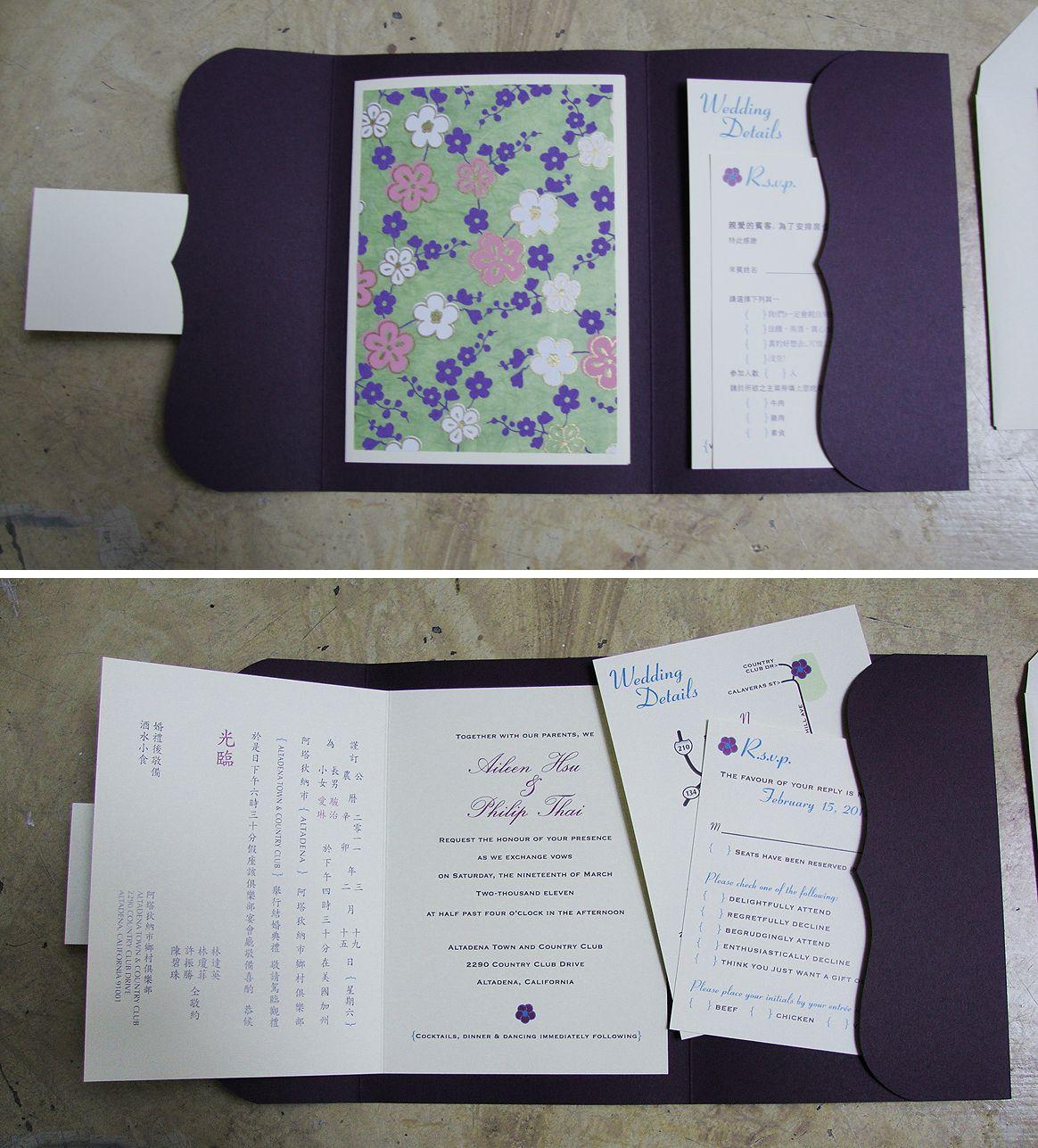 custom wedding invitation] bilingual booklet + pocket | Rsvp ...