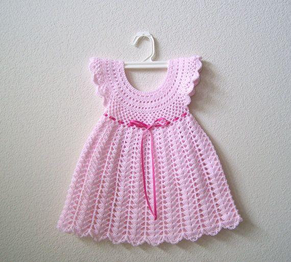 Items similar to Crochet Baby Dress . Baby Crochet Dress on Etsy ...