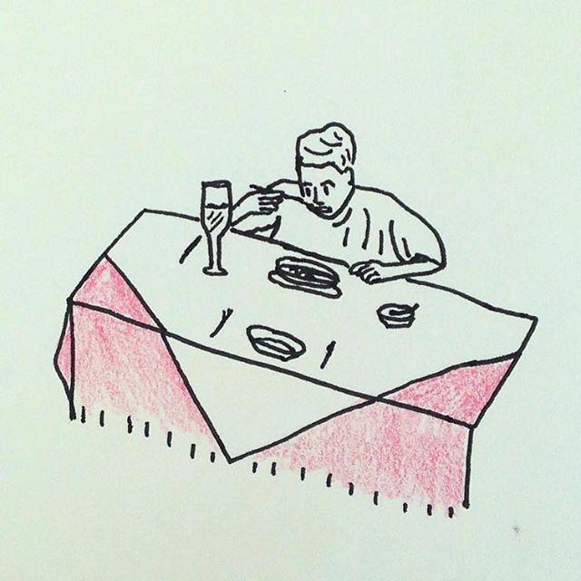 DINNER 혼자 아닌 척 . . . . . #혼밥 #저녁 #저녁밥 #집밥 #외식 #로맨틱 #디너 #잘먹겠습니다 #레스토랑 #드로잉 #일러스트 #스케치 #두들  #dinner #food #eat #out #romantic #restaurant #thanksgiving #doodle #sketch #illustration #drawing #cooking #alone