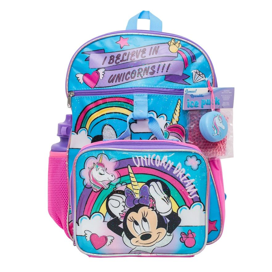 Minnie Mouse Girls  Backpack School BookBag with Lunch Box Set 2 Piece