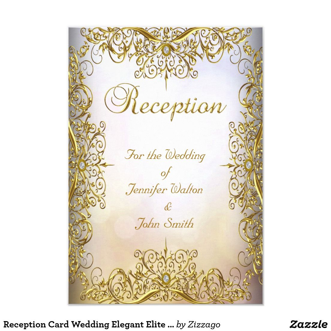 Reception Card Wedding Elegant Elite White Gold | Card wedding ...