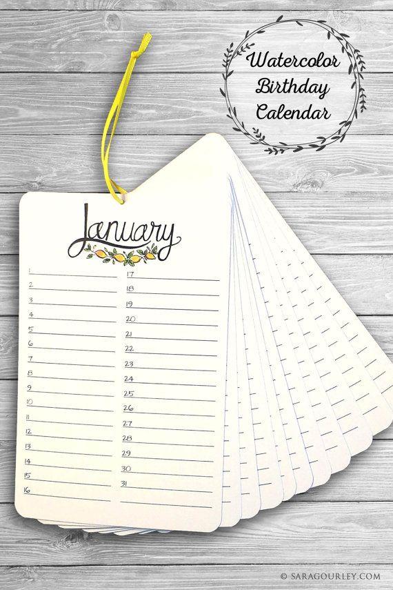 Watercolor Birthday Calendar, Perpetual Calendar, Handmade, Hand - Perpetual Calendar Template