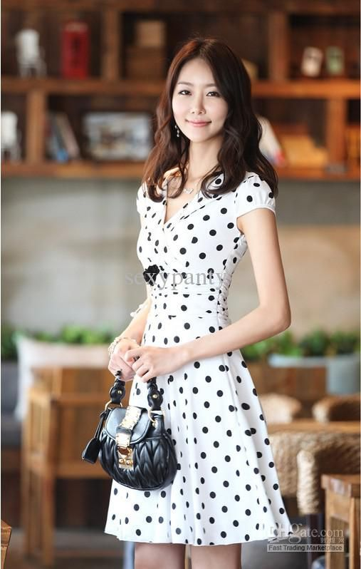 Summer Hot Dresses Short Sleeve Elegant Print Dot Dress Black ...