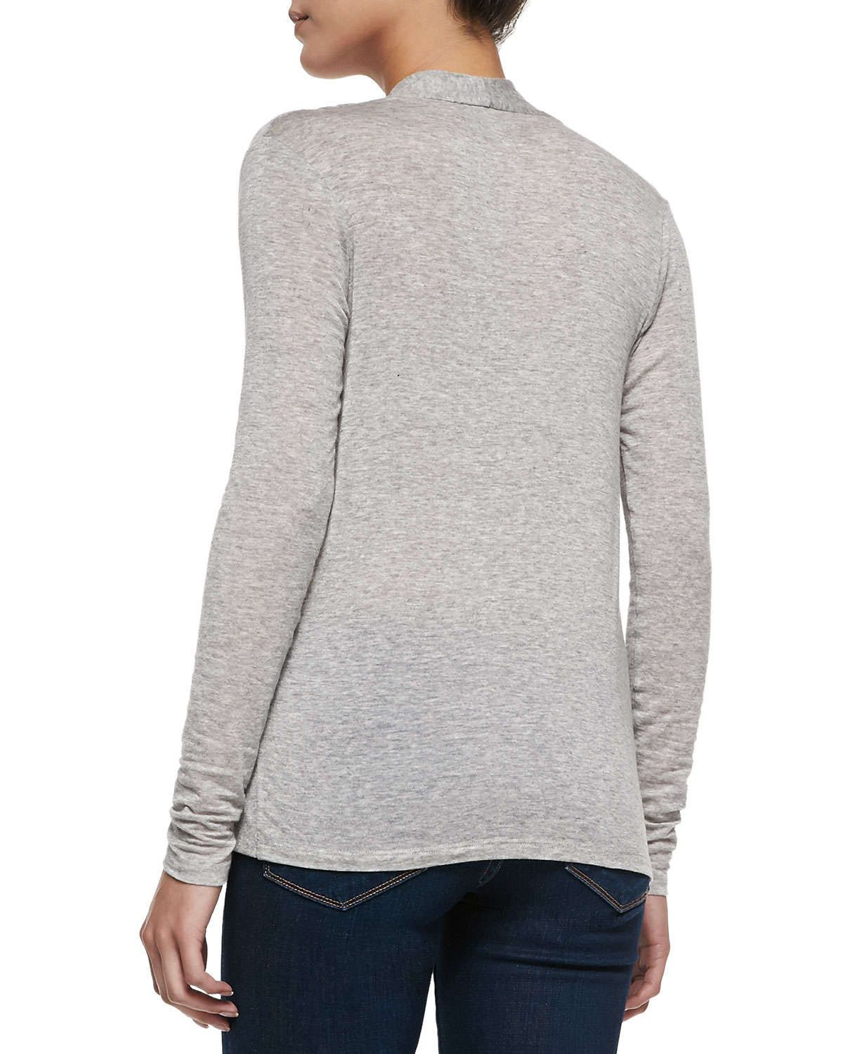 Long-Sleeve Crossover Jersey Top
