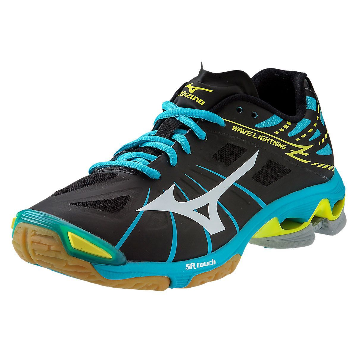 various colors 7e387 bbd63 Mizuno Wave Lightning Z Black Alaskan Blue Womens