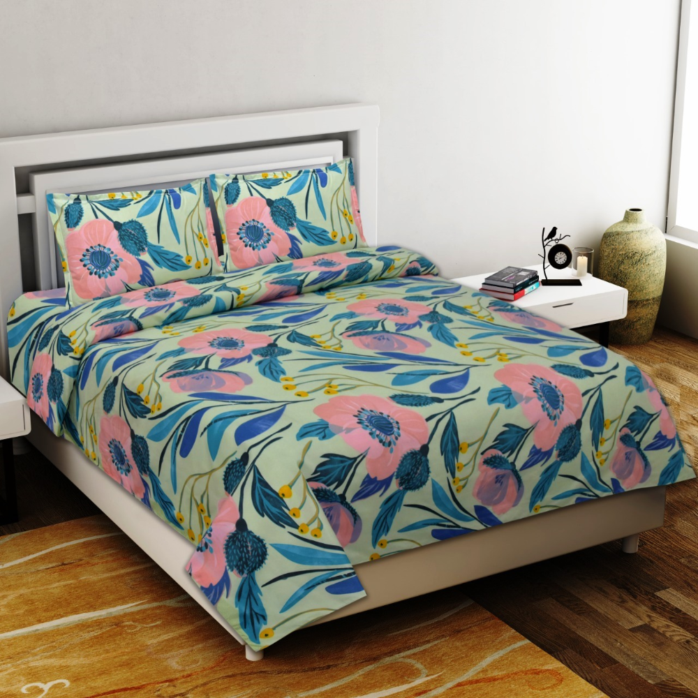 Delicacy Premium Poly Cotton Double Bedsheet in 2020 Bed