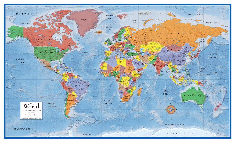 Amazon swiftmaps world premier wall map poster mural 24h x 36w amazon swiftmaps world premier wall map poster mural 24h x 36w office gumiabroncs Images