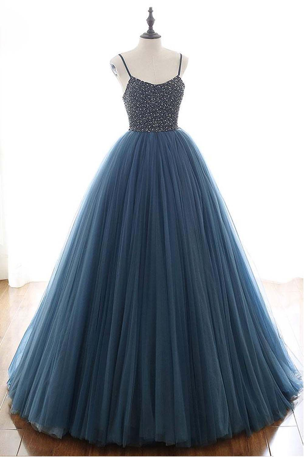 Ball Gown Deep Blue Tulle Prom Dress Evening Dress With Beading