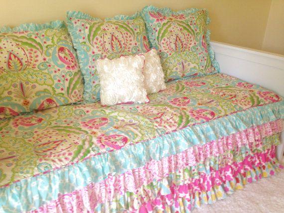 Kumari Garden Teja Pink Twin Daybed Comforter Attached Dust