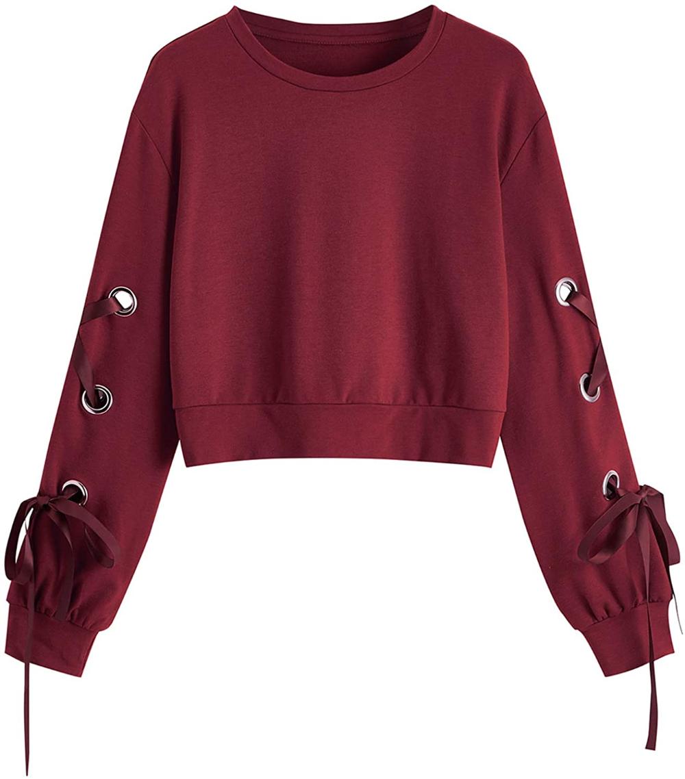 Sweatyrocks Women S Casual Tie Dye Lace Up Long Sleeve Pullover Crop Top Sweatshirt Multicolor 1 L At Crop Top Sweatshirt Sweatshirt Tops Long Sleeve Pullover [ 1138 x 1000 Pixel ]