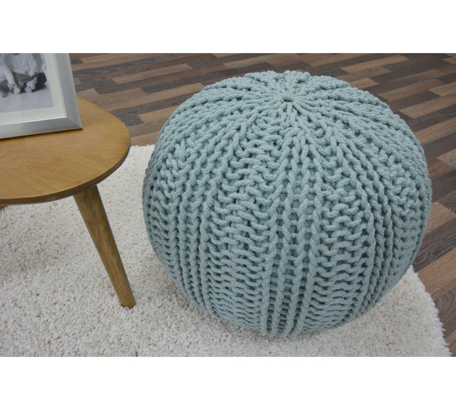 Buy Knitted Pouffe Footstool Duck Egg At Argos Co Uk Visit Argos Co Uk To Shop Online For Footstools Living Roo Living Room Furniture Pouffe Knitted Pouffe