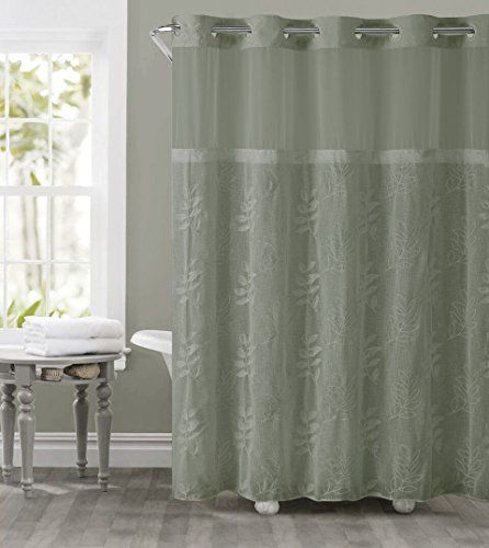 Hookless Rbh32my130 Palm Leaves Embroidery Shower Curtain With
