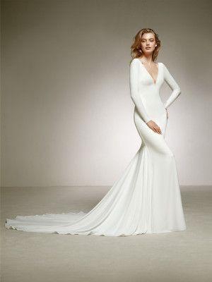 vestido para novia crepe espalda en pico - colección 2018 pronovias