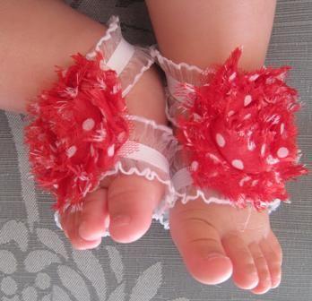 Red Polka Dot Ruffle Strap Barefoot Flower Sandals