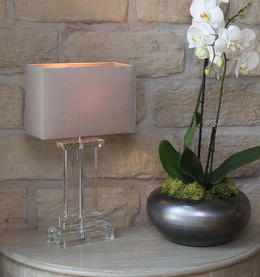 Rectangle Clear Crystal Table Lamp Table lamp, Clear