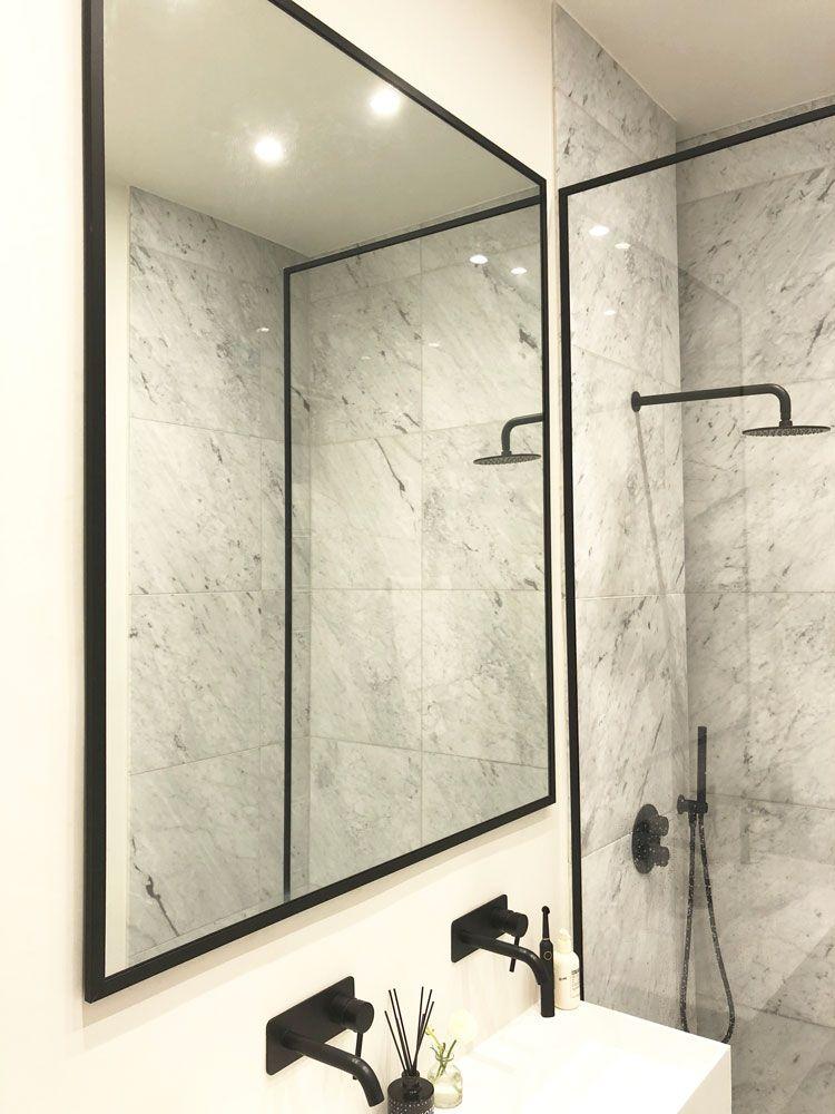 Black Frame Shower Mirror And Screen From Creative Glass Studio In London Framed Shower Black Mirror Frame Shower Screen
