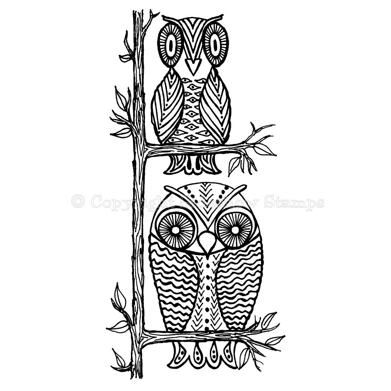 Unmounted Rubber Stamp Owl Border 2 Owls Sitting In A Tree 575