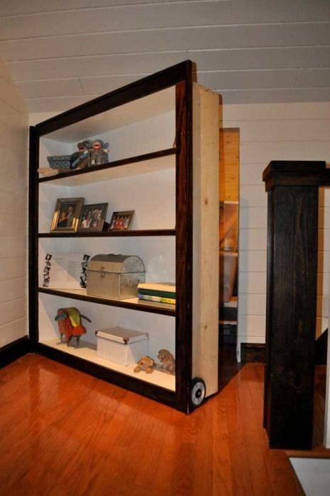 Hidden Bookshelf Door To Attic This Mive Bookcase Swings Out Using A Hinge And Load Carrying Wheel Or Wheels Thick Stained Trim Covers Up Any Sign