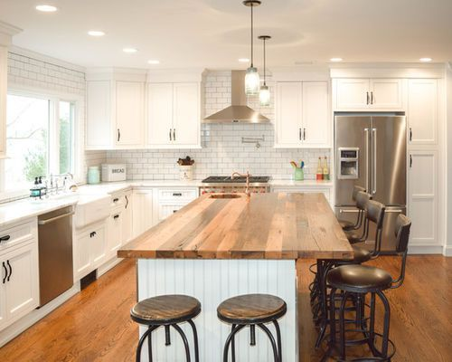 large farmhouse l shaped eat in kitchen idea in new york with a farmhouse sink beaded inset on kitchen island ideas eat in id=81314