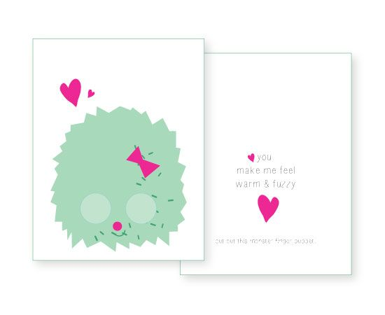 free printable download - paper monster finger puppets valentine's cards for kids. Download at SmallforBig.com #printable