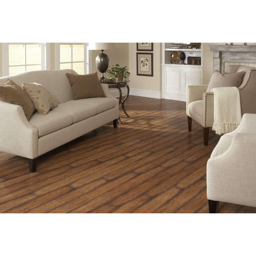 shop allen + roth 7.96-in w x 3.97-ft l toasted embossed laminate