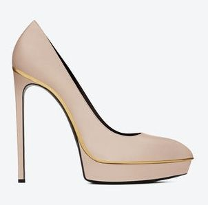 Classic Janis Escarpin Pump in Powder and Gold Leather | ysl.com