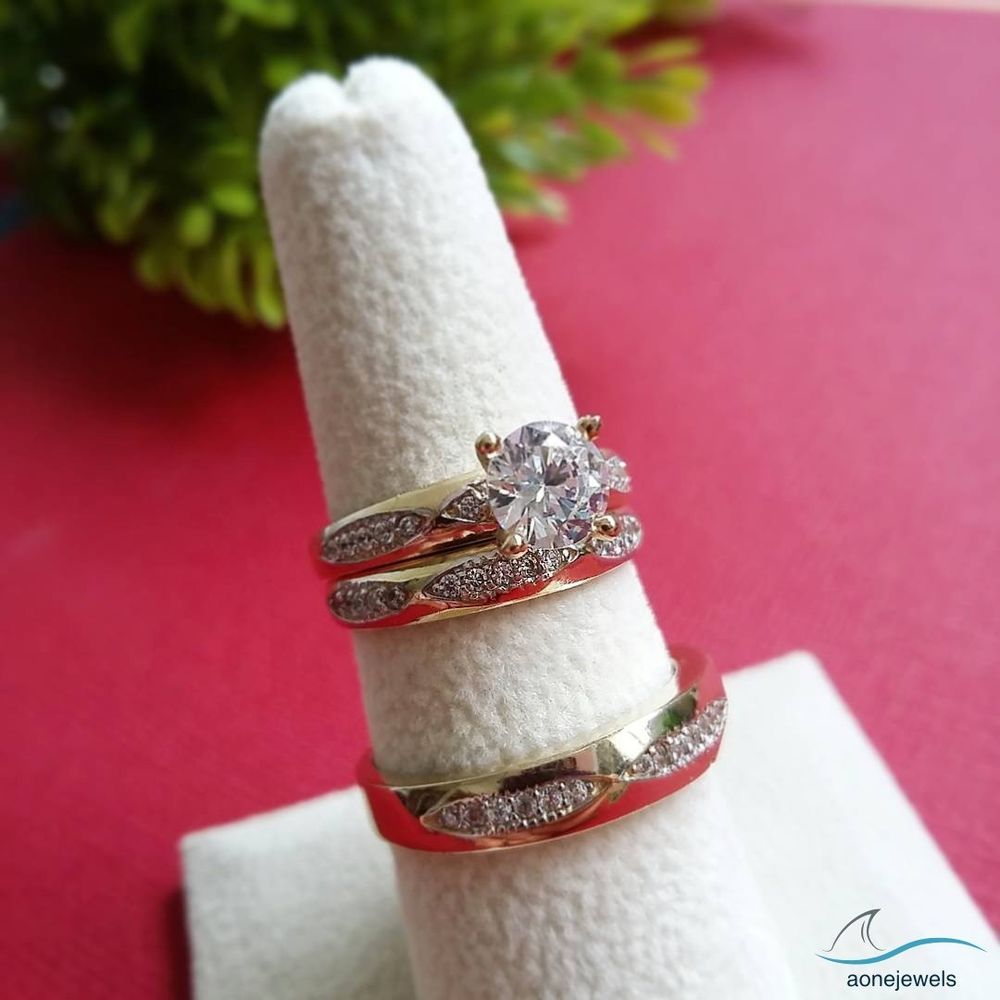 Diamond Wedding 14K Yellow Gold Trio His And Her Bridal Band ...