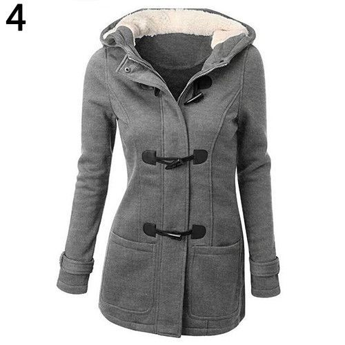 Women's Winter Classic Style Flocked Hooded Toggle Duffle Coat ...