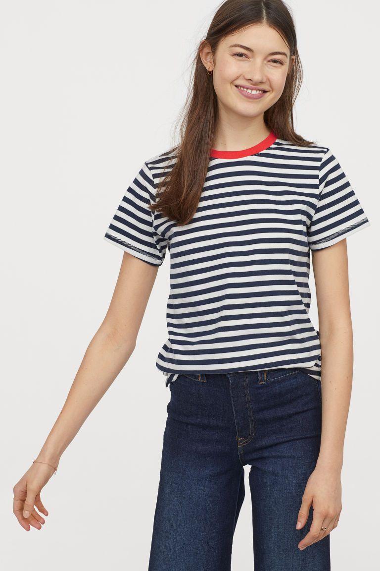 Camiseta De Rayas Azul Oscuro Rojo Mujer H M Es Gestreepte Top Tops Donkerblauw