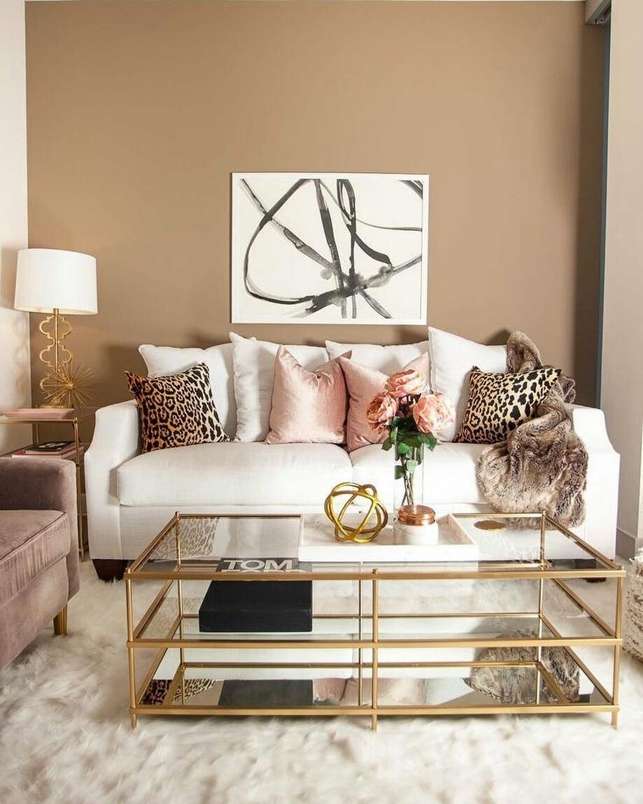 Table Couch And Paint Color Glam Living Room Room Inspiration