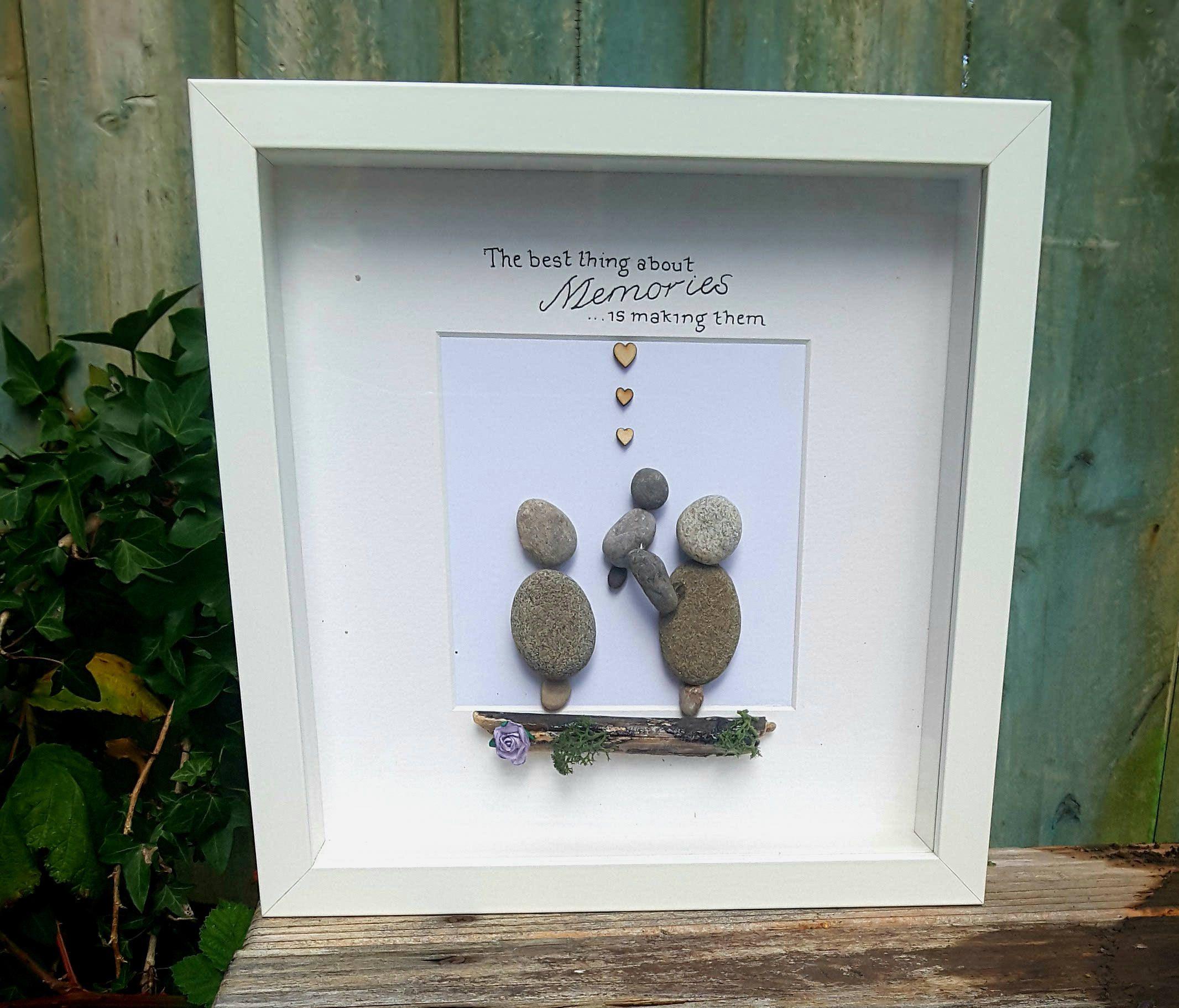 Framed family gift, Christmas Gift ideas, Pebble Art Picture, memory ...
