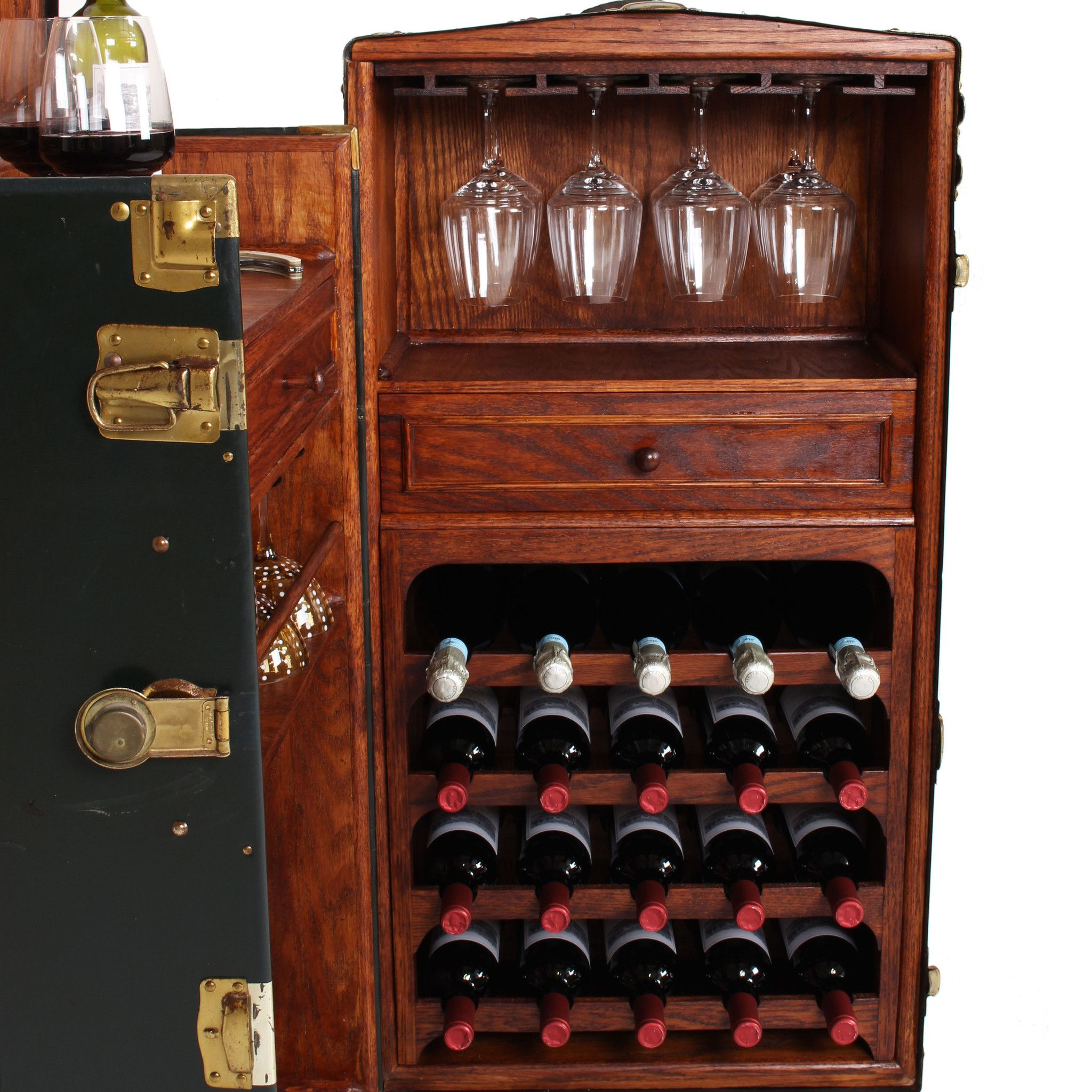 Vintage Steamer Trunk Bar Cabinet Fatto A Mano Antiques 5