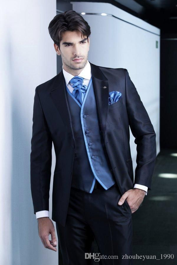 Men Suits New Design Dark blue Groom Tuxedos Groomsmen Best Man Suit ...