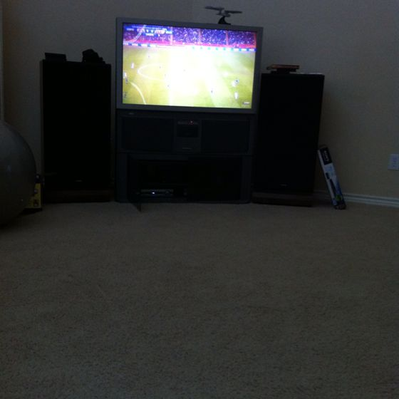 Watching the jap-USA Romans soccer game with my daddy.