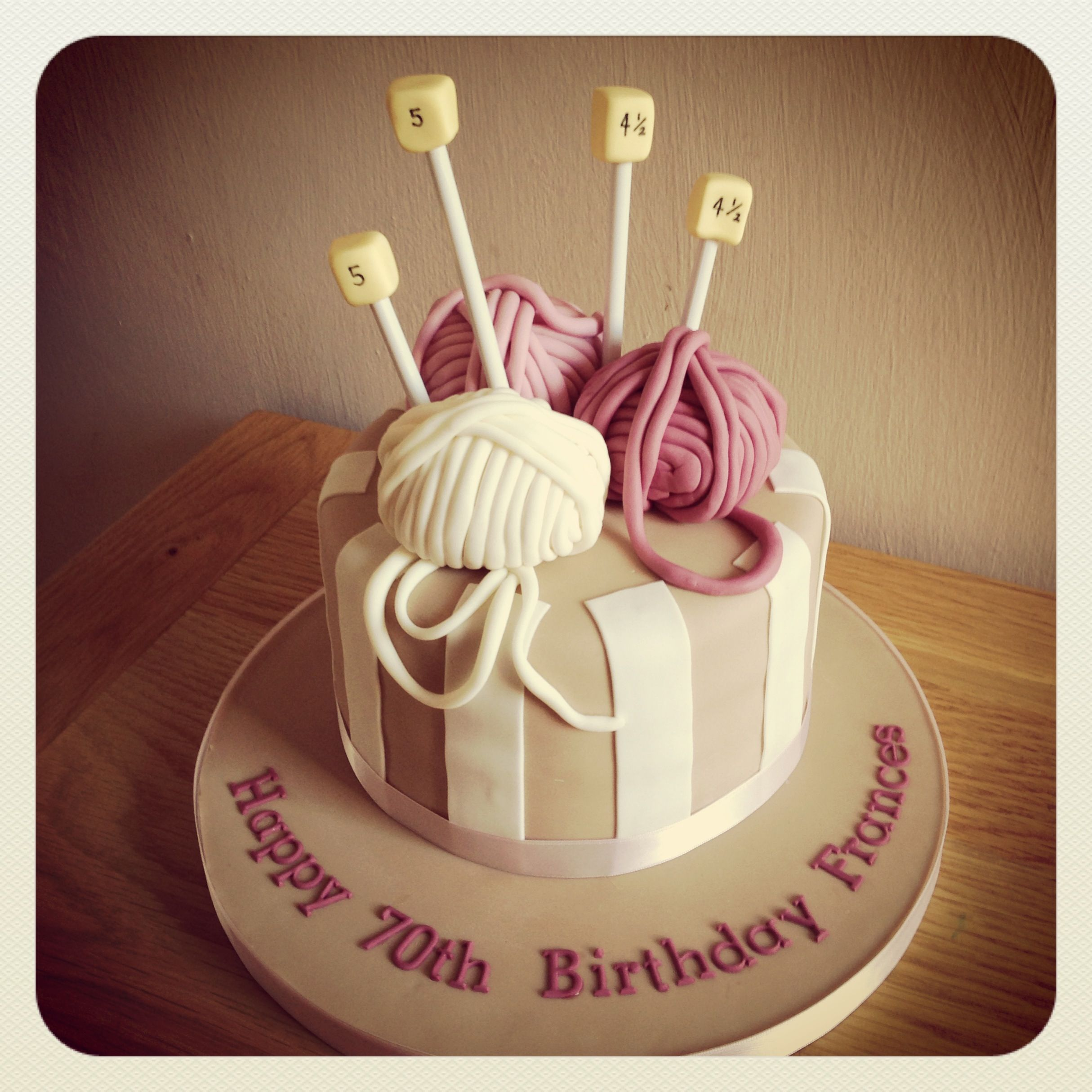 Knitting themed birthday cake Lemon drizzle filled with layers of