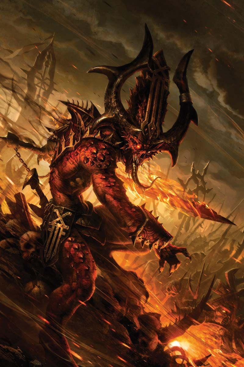 Bloodletter of khorne in 2020 warhammer art fantasy